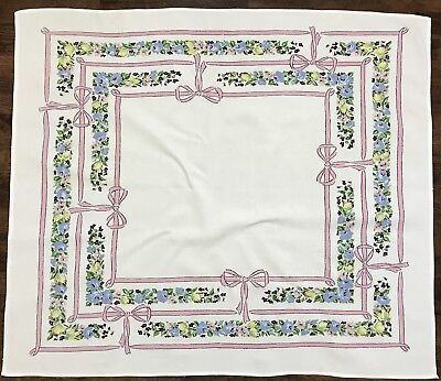 """Vintage Shabby Chic Rose Floral Screen Print 30"""" X 35"""" Small Tablecloth (RF738)"""