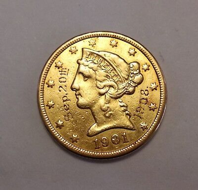 1901 US $5 Gold Coin (inscribed)
