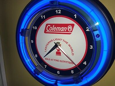 *** Coleman Lanterns Camping Store Man Cave Blue Neon Wall Clock Sign