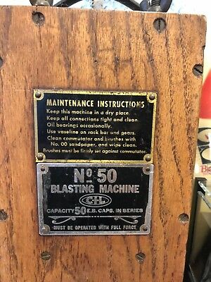 CIL #50 Blasting Machine, with manual and Blasting Caps tin- Vintage Mining