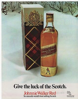 1970 - Johnnie Walker Red - Give The Luck Of The Scotch. - Vintage Print Ad