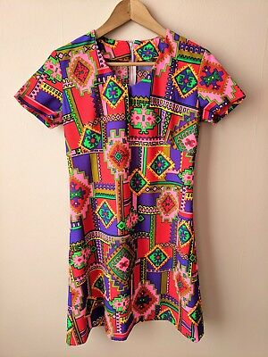 60s 70s vintage psychedelic mini dress 10 8-10 mod gogo red purple green yellow