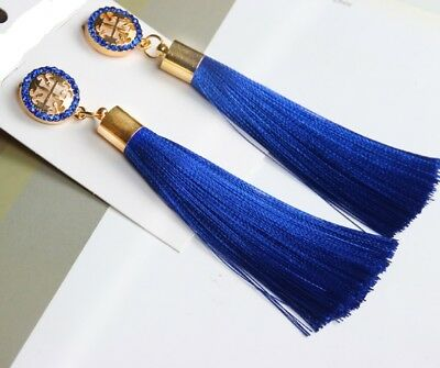 Designer Genuine Austrian Crystal T Studded Satin Tassel Earrings 6 Colors $59 !