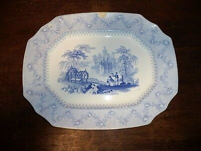 Antique 19th C Blue Staffordshire Ironstone Transferware Alcock BLANTYRE Platter