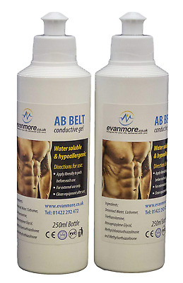2 x 250ml Bottles Conductive Gel Ab Abs Abdominal Toning Belt Pad Pads TENS EMS