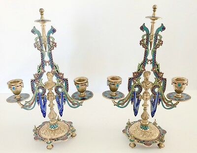 Antique 19th Century French Champleve Enamel & Brass Candelabra Pair France