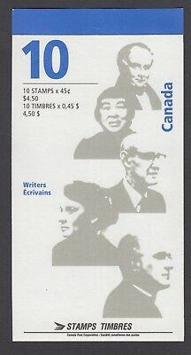 CANADA BOOKLET BK195a 10 x 45c CANADIAN AUTHORS, GLUE FLAP NO  TI