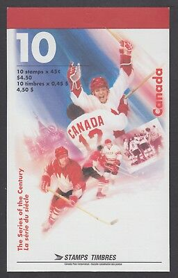 CANADA BOOKLET BK201a 10 x45c HOCKEY SERIES OF THE CENTURY, GLUED FLAP NO TI