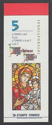CANADA BOOKLET BK204b 5 x90c CHRISTMAS -MADONNA AND CHILD, OPEN COVER WITH TI