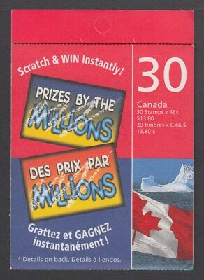 CANADA BOOKLET BK215Ca 30 x 46c FLAG AND ICEBERG, GLUED FLAP NO TI SCRARCH & WIN