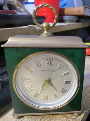 vintage Hamilton 7 jewel windup alarm carriage clock