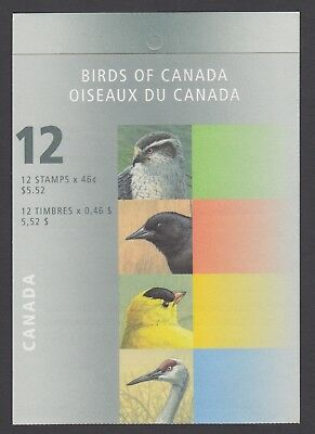 CANADA BOOKLET BK218b 12 x 46c BIRDS OF CANADA 4a, OPEN COVER WITH TI