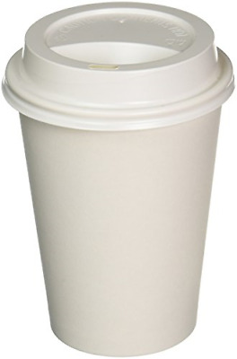 Paper Coffee Cups Solo Disposable White Hot Cup with Cappuccino LIDS Pack of 100