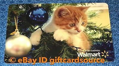 "Walmart Canada Gift Card ""holiday Kitten Playing In Christmas Tree"" No Value New"