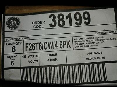 "GE Lighting 38199 19W 26"" CW Fluoresnt Appliance Bulb 6 pack USA Made F26T8/CW/4"