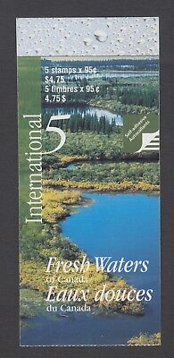 CANADA BOOKLET BK229a 5 x 95c FRESH WATERS OF CANADA, GLUED FLAP NO TI