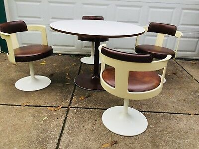 Dinette Set 4 Swivel Chairs W/ Table Mod 1970s Daystrom Tulip Base, Fiberglass