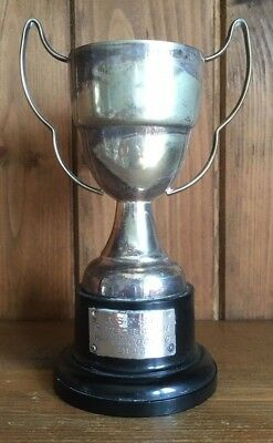 1943 vintage silver plate shooting trophy, loving cup, military, trophies