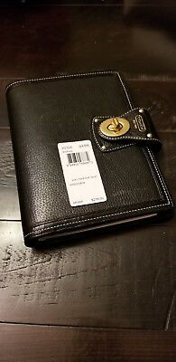 Coach Black Leather 6 x 8 Turn lock Planner w/Free  GOLD Spiral Address Refill!!