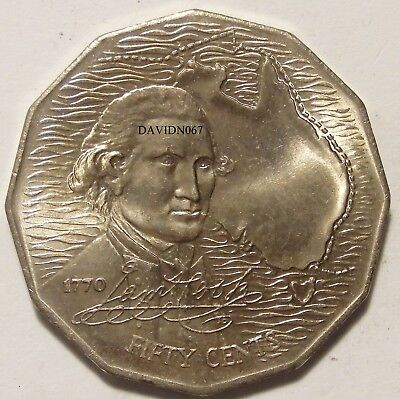 1970 Captain James Cook Bicentenary Australian 50c Coin. ( CIRCULATED )