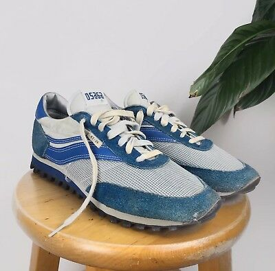 c51149aeb1e Vintage 70s OSAGA KT-26 Dunlop Running Sneakers 9.5 US Blue Suede nike