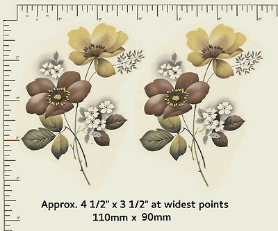 """2 x Waterslide ceramic decals Yellow / Brown floral Approx. 4 1/2"""" x 3 1/ 2"""" R44"""