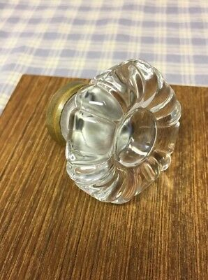 "Antique Glass Door/ Cabinet/ Drawer Large Knob Clear Glass 1-3/4""x1-3/8"" Flower"