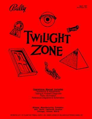 Twilight Zone Pinball Operations/Service/Repair Manual Arcade  Machine Bally PPS