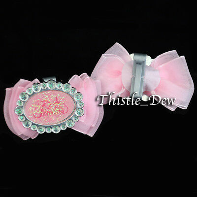 Disney Parks PRINCESS Silver Shoes REPLACEMENT BOWS Pink Glitter GIRLS Exclusive
