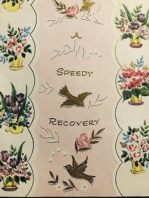 VINTAGE GREETING CARD~GET Well~Speedy Recovery~Birds~Butterfly~Bouquets  Flowers