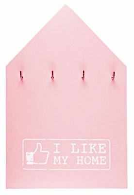"Wooden Key Holder Pink ""I LIKE MY HOME"" 4 Knobs Hooks Hanger Home Kitchen Decor"