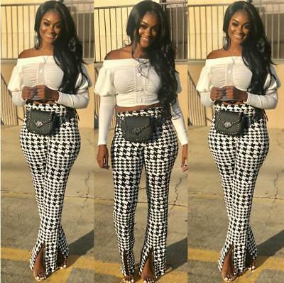 Woman Wide Leg Pant Houndstooth Printed Split Wide Leg Trouser Casual Pant S-2XL