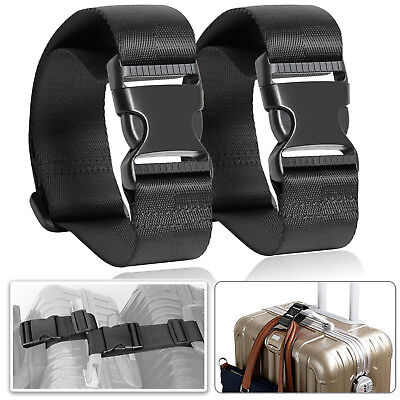 2 Luggage Straps Travel Bag Strap Suitcase Security Belt - Black, [Anti-Theft]