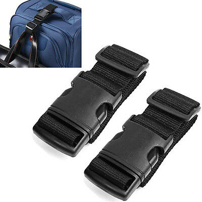 2pcs Black Luggage Packing Straps Belts with Secure Quick Release Buckle Closure