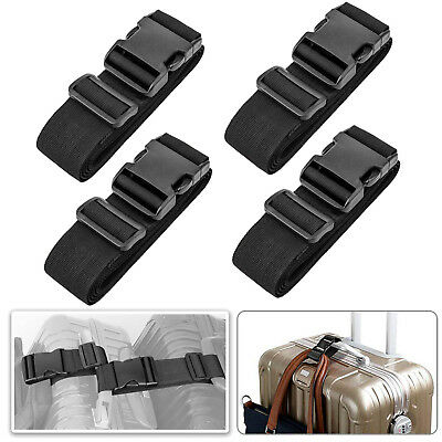 4 pack Add a Bag Luggage Strap Adjustable Travel Suitcase Belt Attachment, Black