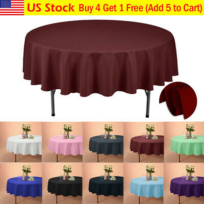 "VEEYOO 90"" Round Tablecloth Linen Table Cover for Weddings Party Holiday Dinner"