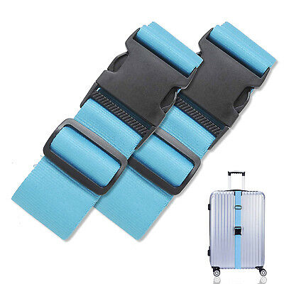 "2Pcs Long Cross Luggage Strap Suitcase Travel Belt for 16""-32"" Suitcase, Blue"