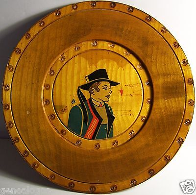 RARE PLATE HANDCRAFTED TOUR WOODEN CHARACTER BRITTANY BRETON signed AB