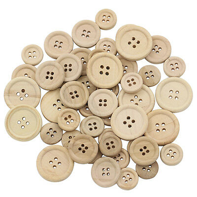 50 Pcs Mixed Wooden Buttons Natural Brown Round 4-Holes Sewing Scrapbooking DIY