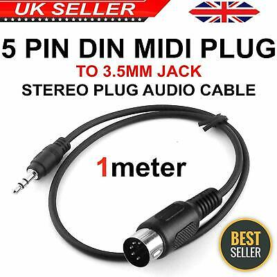 5 Pin 1m Din MIDI Plug To 3.5mm Jack Stereo Plug Audio Cable Connector ROHS
