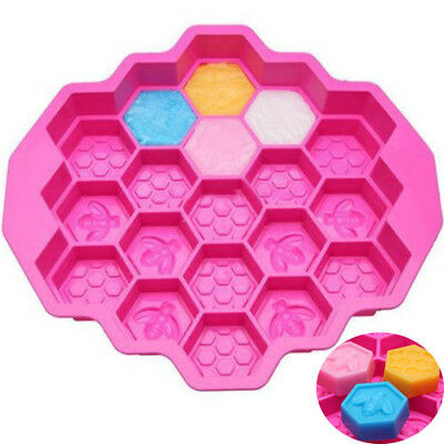 Silicone Honey Comb Bees Soap Mould Beeswax Ice Chocolate Cake Pan 19Cell #AM8