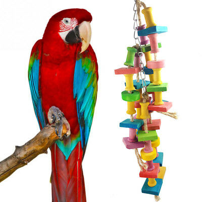 Pet Parrot  Bird Chew Hang Toys Wood Large Rope Cave Ladder Chew Toy Fun #AM8