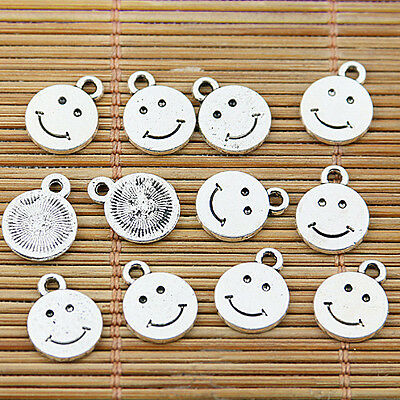 34pcs Tibetan silver plated smiling face round charm pendants EF1632