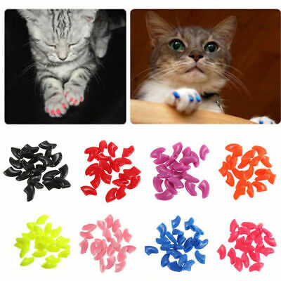 20x Soft Pet Cat Paw Claw Nail Caps Dog Puppy Grooming Adhesive Glue Cover XS-L