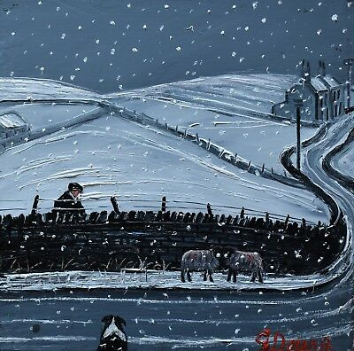 Lovely James Downie Original Oil Painting - Sheep In The Winter Snow
