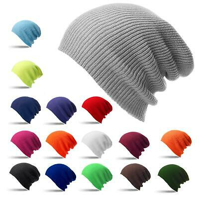 Slouch Beanie Hat Mens Ladies Knitted Woolly Winter Oversized Cap Skateboard