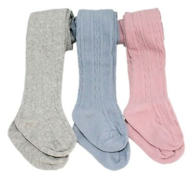 3 Pairs Baby Girl Pink Blue Grey Ribbed Cable-knit Pattern Textured Tights 0-3Y
