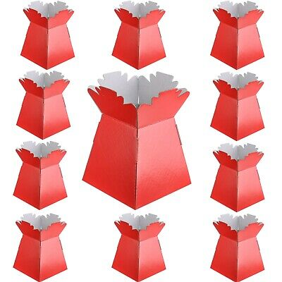 Red - Living Vases Florist Bouquet Box Flower Plant Sweet Boxes -Choose Quantity