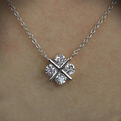 2 Ct Near White Round Cut Moissanite Forever Only Pendant 10K White Gold