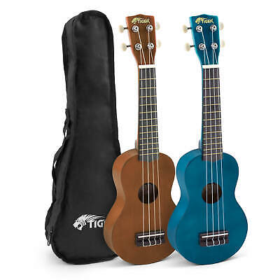 Tiger Soprano Ukuleles with Carry Bag - Blue and Brown